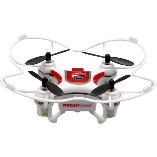 DROMOCOPTER DRONE DUCATICORSE BIANCO 5MIN DI VOLO BATTERIA LI-PO CAVO USB X RICARICA SET 4PZ ELICHE DI SCORTA