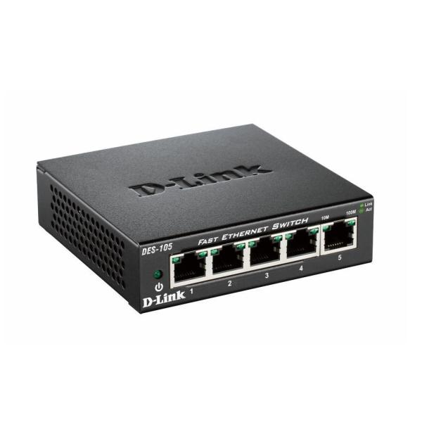 D-LINK SWITCH 5 PORTE 10/100 CASE METALLICO