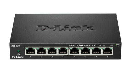 D-LINK SWITCH 8 PORTE 10/100 CASE METALLICO