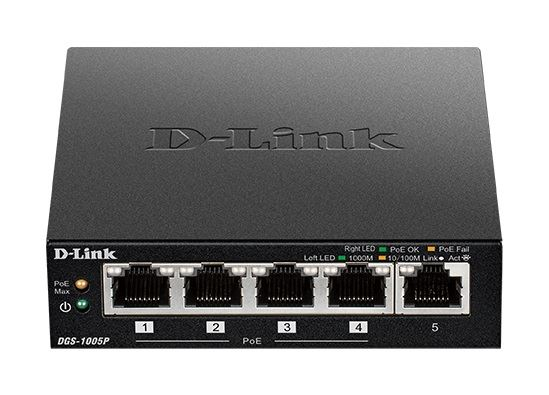 D-LINK SWITCH 5 PORTE GIGABIT POE+ DESKTOP