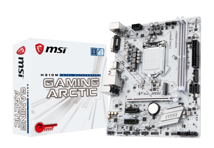 MSI MB H310M GAMING ARCTIC MATX LGA1151 8TH GEN DDR4 PCI-EX1/16 M.2 SATA3 USB3.0 PERFORMANCE GAMING