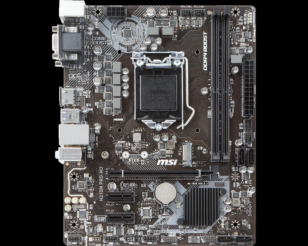 MSI MB H310M PRO-M2 MATX LGA1151 8TH GEN DDR4 PCI-EX1/16 M.2 SATA3 USB3.0 VGA DVI HDMI PRO SERIES