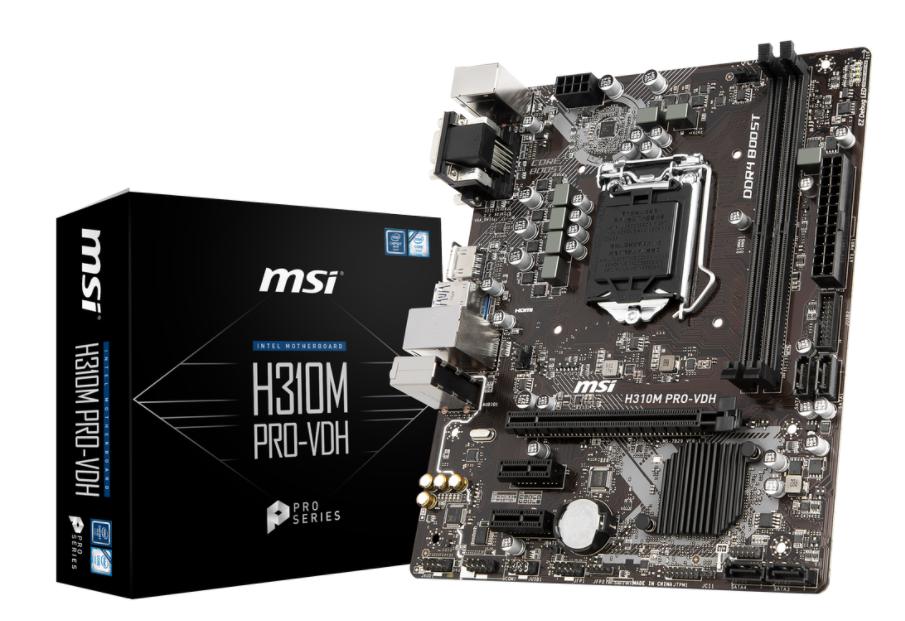 MSI MB H310M PRO-VDH MATX LGA1151 8TH GEN DDR4 PCI-EX1/16 SATA3 USB3.0 VGA DVI HDMI PRO SERIES