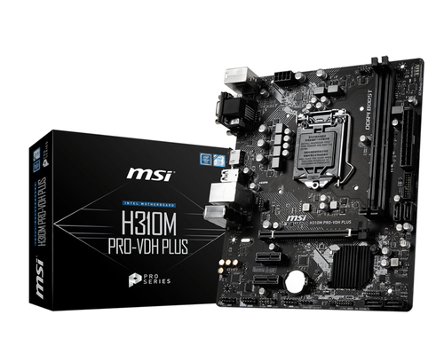 MSI MB H310M PRO-VDH PLUS MATX 1151 8TH GEN PRO SERIES DDR4 PCI-EX/16 SATA3 USB3.0 VGA DVI HDMI