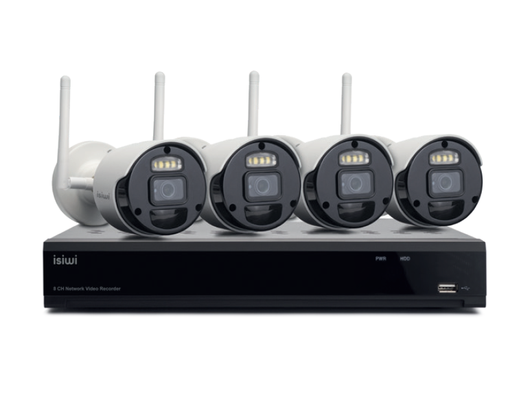ISIWI KIT WIRELESS CONNECT4 ISW-K1N8BF2MP-4 NVR 8 CANALI + 4 TELECAMERE IP 1080P WIRELESS CON FUNZIONE PIR