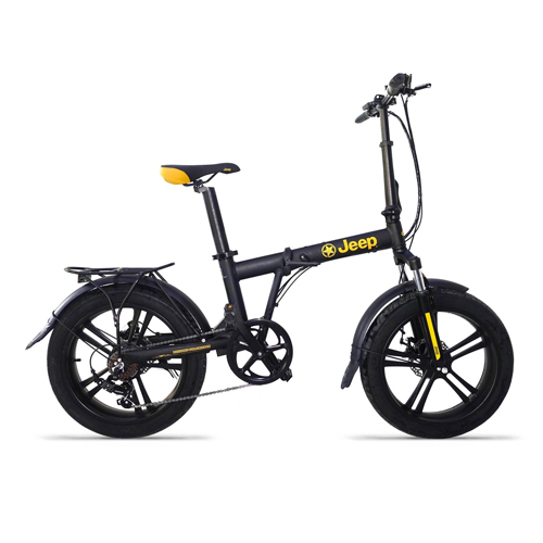 JEEP BICICLETTA CON PEDALATA ASSISTITA FAT BIKE NERO-GIALLO RUOTE 20