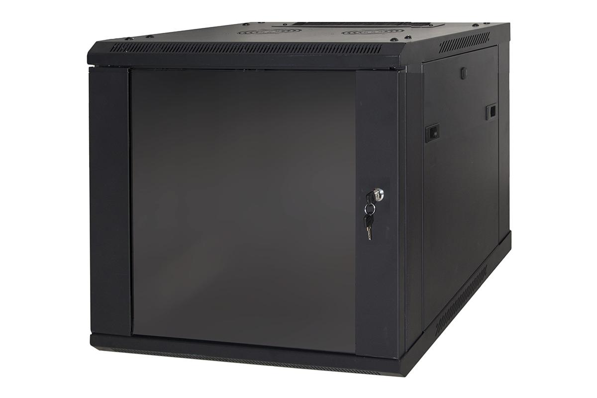 ARMADIO RACK 19 6 UNITA DA MURO (A) 370 x (L) 600 x (P) 450 NERO DISASSEMBLATO  PORTA VETRO