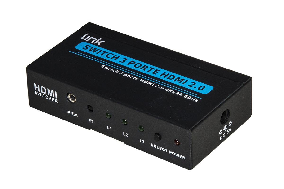 LINK SWITCH 3PORTE HDMI 2.0 4K X2K 60HZ CON TELECOMANDO