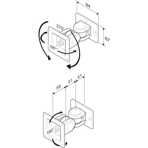 BRACCIO PER SUPPORTO MONITOR LCD (FINO A 8KG) MONTAGGIO SU BRIDGE, LP1140, LP1142 (OPZIONALE)