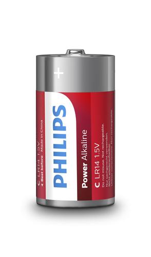 PHILIPS BATTERIA IN SINGOLA CONF (2PZ PER BLISTER), POWER ALKALINE, C/LR14 ALCALINA, 1,5 VOLT
