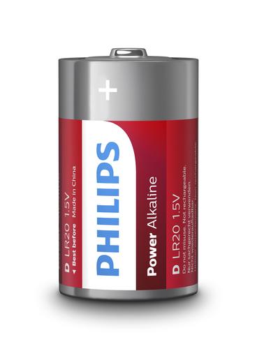 Philips batteria in singola conf (2pz per blister), powerlife alkaline,  d/lr20 alcalina, 1,5 volt