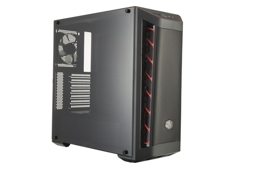 COOLER MASTER CASE MASTERBOX MB511 RED TRIM MESH VERS. MID TOWER ATX, USB3X2, AUDIO IO, 2X COMBO 3.5/2.5