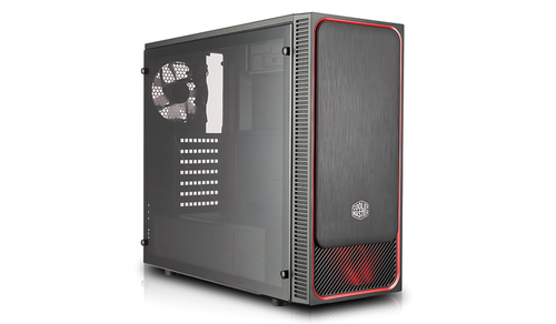 COOLER MASTER CASE MASTERBOX E500L MID TOWER ATX, RED W/ FULL WINDOW USB3X2,IO, 1X 5,25