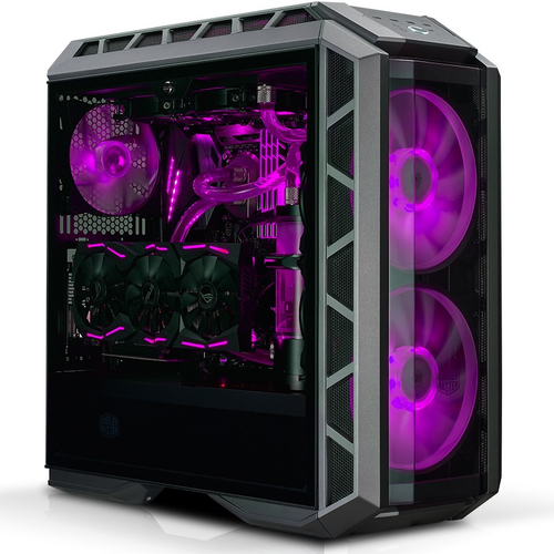 COOLER MASTER MASTERCASE H500P RGB MID TOWER, ATX, TEMPERED GLASS SIDE PANEL, FRONT 2X200 RGB FAN, REAR 1X140 FAN, 2XUSB3.0, 2XUSB2.0, GUN METAL BLACK
