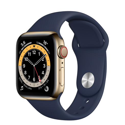 APPLE WATCH SERIES 6 GPS+CELLULAR 40MM GOLD STAINLESS STEEL CASE WITH DEEP NAVY SPORT BAND