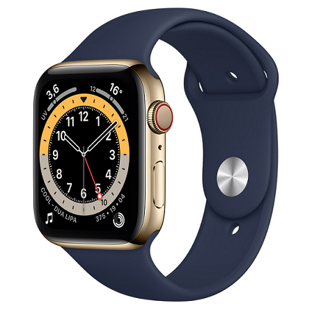 APPLE WTACH SERIES 6 GPS + CELLULAR 44MM GOLD STAINLESS STEEL CASE WITH DEEP NAVY SPORT BAND