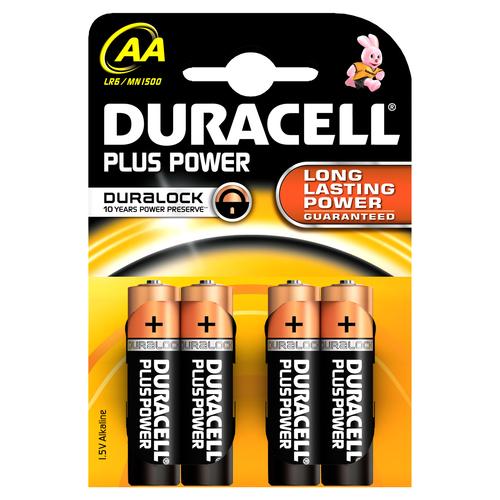 DURACELL PILE ALCALINE AA 1,5V NON RICARICABILI PLUS POWER CONFEZIONE DA 4 PILE