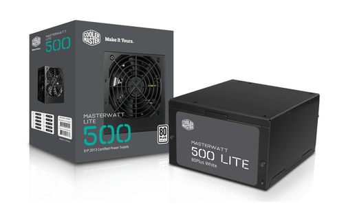 COOLER MASTER MASTERWATT LITE 500W, 230V, 80PLUS WHITE, 120MM FAN, ACTIVE PFC, EU CABLE
