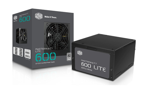 COOLER MASTER MASTERWATT LITE 600W, 230V, 80PLUS WHITE, 120MM FAN, ACTIVE PFC, EU CABLE