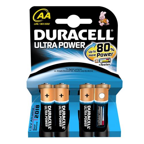 DURACELL BATTERIA PACCO DA 4 AA ULTRA POWER NON RICARICABILE