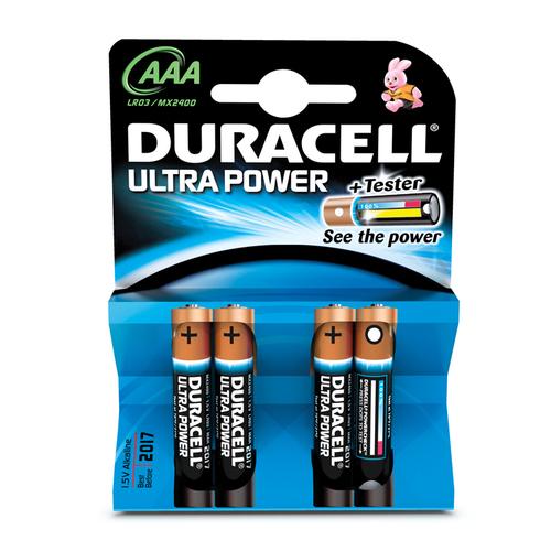 DURACELL PILE ALCALINE AAA ULTRA POWER NON RICARICABILI PACCO DA 4PILE