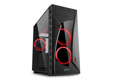 SHARKOON CASE NIGHT SHARK RED ATX, 2XUSB2, 2XUSB3, 7 SLOT ESPANSIONE, 2X120 FRONT LED FAN, 1X120 REAR LED FAN, WINDOW, BLACK