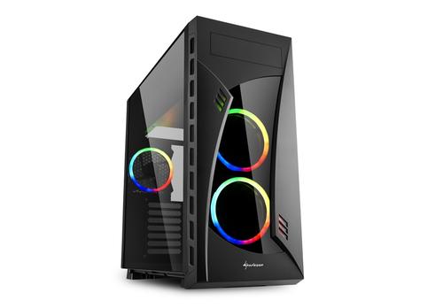 SHARKOON CASE NIGHT SHARK RGB ATX, 2XUSB2, 2XUSB3, 7 SLOT ESPANSIONE, 2X120 FRONT LED RGB FAN, 1X120 REAR LED RGB FAN, WINDOW, BLACK