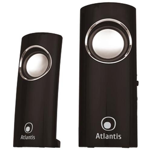 ATLANTIS SPEAKER SOUNDPOWER 340 ALIMENTAZIONE USB STEREO AMPLIFICATE 2.0 INGRESSO MICROFONO/USCITA CUFFIE NERO LUCIDO
