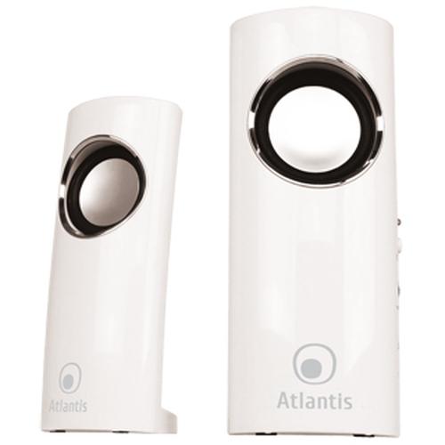 ATLANTIS SPEAKER SOUNDPOWER 340 ALIMENTAZIONE USB STEREO AMPLIFICATE 2.0 INGRESSO MICROFONO/USCITA CUFFIE BIANCO LUCIDO