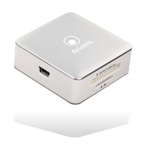 ATLANTIS CARD READER ALL IN ONE ESTERNO ARGO USB2.0 HC/HS T-FLASH/MICRO SD/M2 COLORE BIANCO FINITURE ALLUMINIO