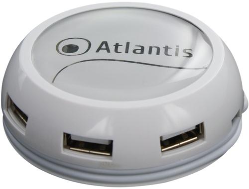ATLANTIS HUB 7 PORTE USB2.0 BIANCO LUCIDO CAVO AVVOLGIBILE ALIMENTAZIONE DA RETE