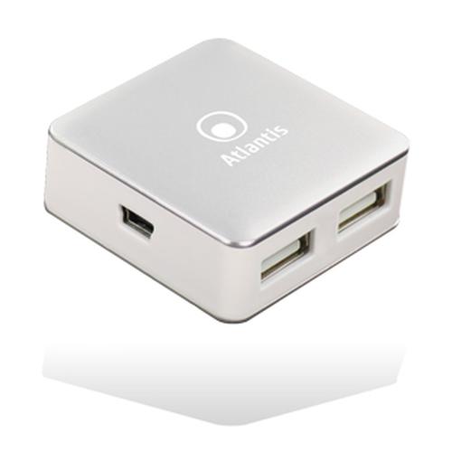 ATLANTIS HUB MINI 4 PORTE USB2.0 BIANCO/SILVER