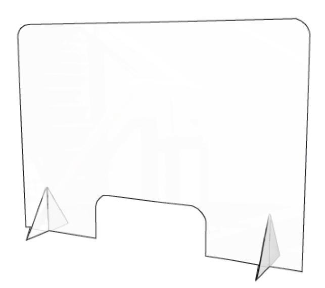 GOUP SOLUTIONS PANNELLO DIVISORIO IN PLEXIGLASS 100X70 SPESSORE 4MM CON STAND DA TAVOLO/BANCONE