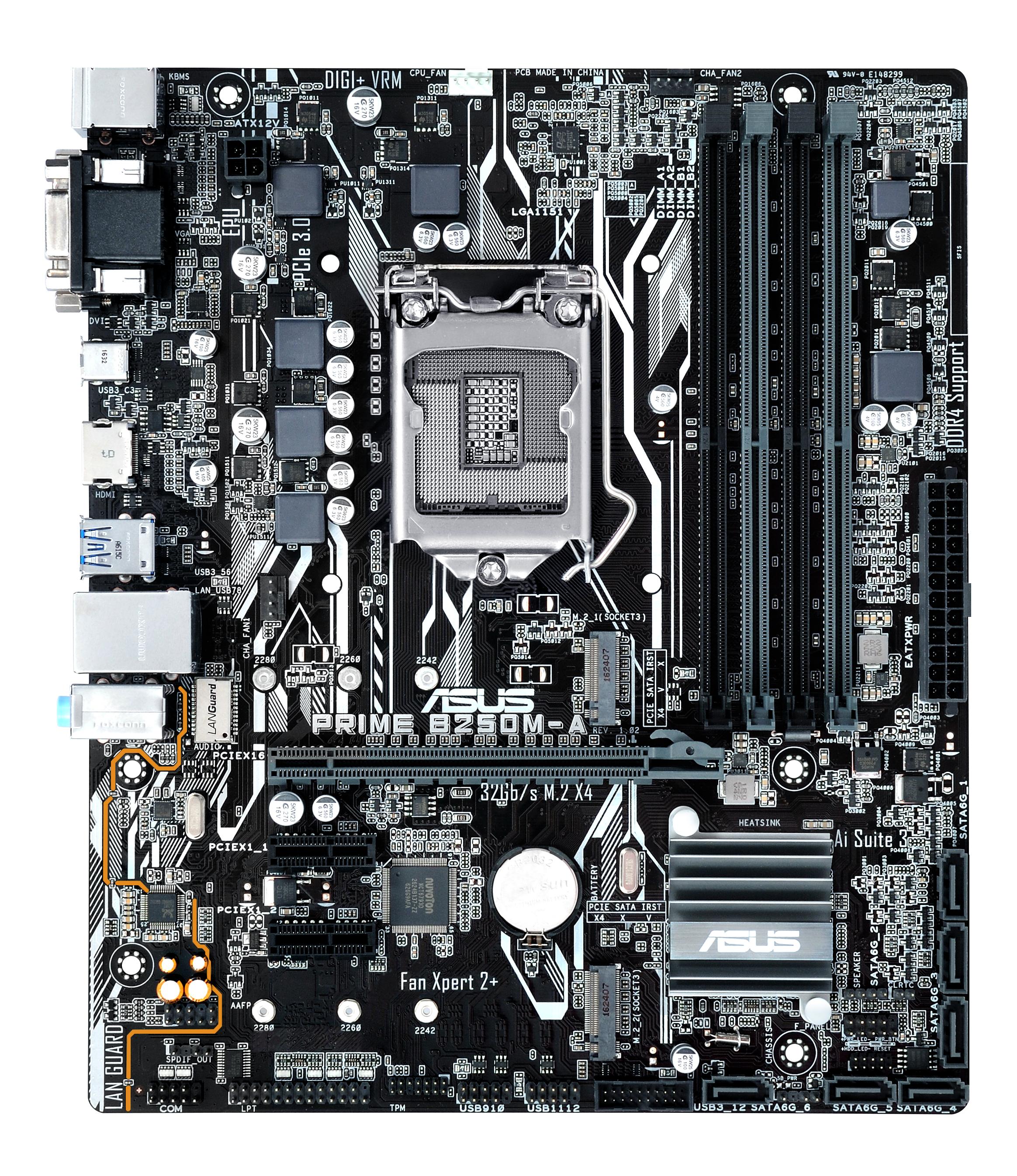 ASUS MB PRIME-B250M-A INTEL MICRO-ATX REALTEK ALC 887 2400 MHZ (LGA 1151) 1 x DVI 1 x HDMI 1 x VGA