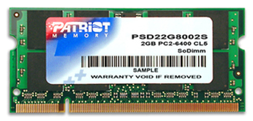 PATRIOT RAM SODIMM 2GB DDR2 800MHZ CL6 NON ECC