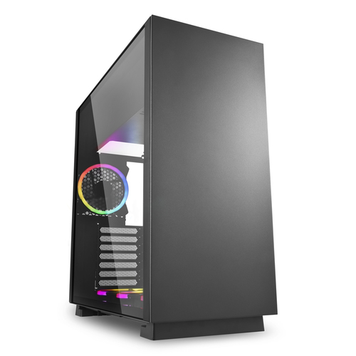 SHARKOON CASE ATX PURE STEEL,7 SLOT, 2XUSB3, 1X120MM RGB REAR, 1X120MM RGB DOWN, WINDOW, BLACK