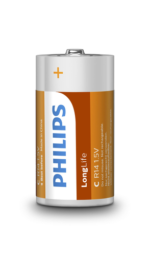 PHILIPS BATTERIA IN SINGOLA CONF (2PZ PER BLISTER), LONGLIFE, C/R14 ZINCO/CARBONE, 1,5 VOLT