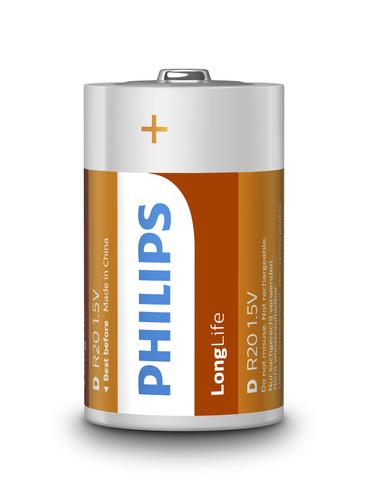 PHILIPS BATTERIA IN SINGOLA CONF (2PZ PER BLISTER), LONGLIFE, D/R20 ZINCO/CARBONE, 1,5 VOLT