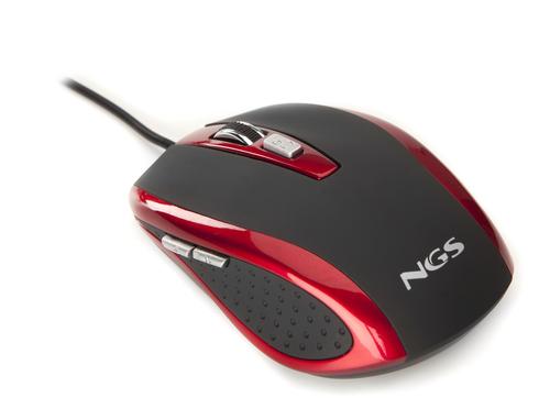 NGS MOUSE OTTICO USB 800-1600DPI 6 TASTI + ROTELLA RIVESTIMENTO IN GOMMA COLORE NERO ROSSO