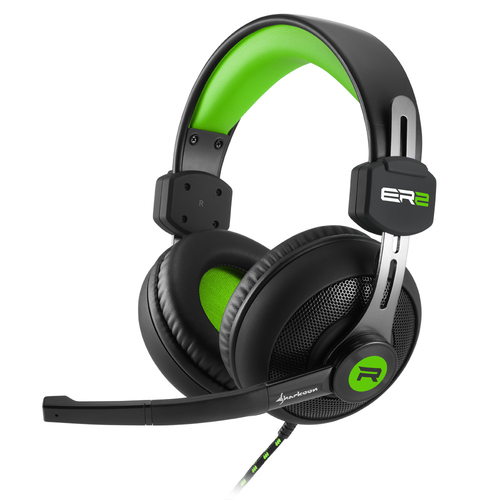 SHARKOON HEADSET GAMING CUFFIE TRRS/STEREO JACK 100MW + MICROFONO OMNIDIREZIONALE FLESSIBILE PC/NB/PS4/XBOX VERDE