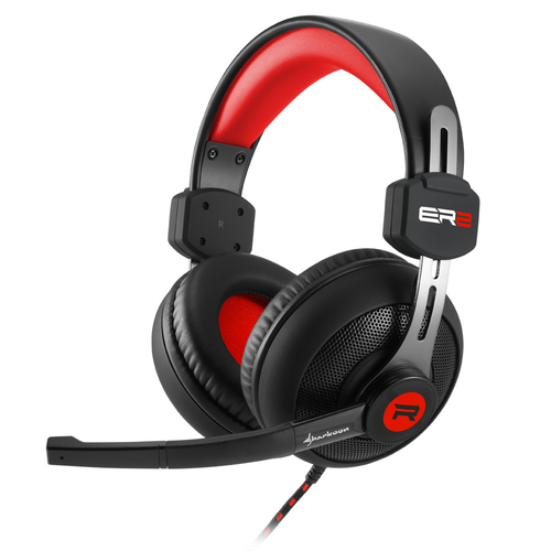 SHARKOON HEADSET GAMING CUFFIE TRRS/STEREO JACK 100MW + MICROFONO OMNIDIREZIONALE FLESSIBILE PC/NB/PS4/XBOX ROSSO