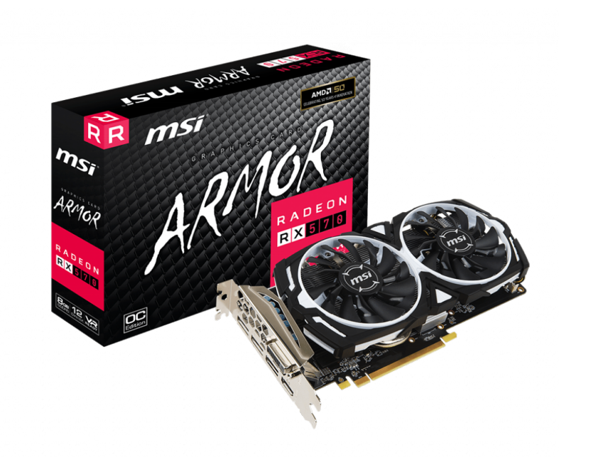 MSI VGA RX 570 ARMOR 8G OC RENEWED BULK NO MASCHERINA/CAVI