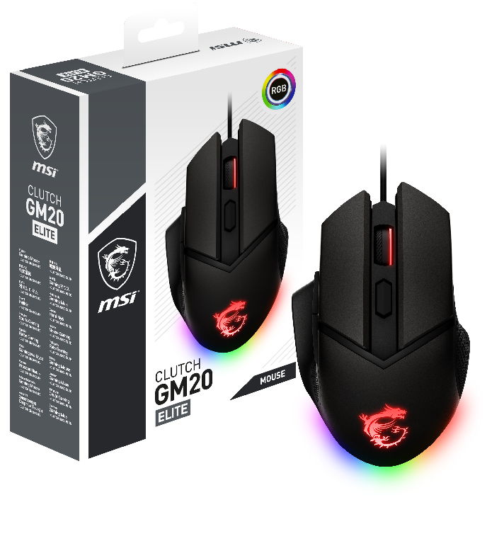MSI MOUSE GAMING CLUTCH GM20 ELITE, 6400 DPI, RGB
