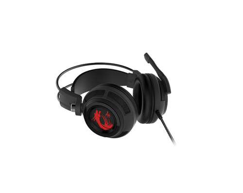 MSI CUFFIE HEADSET GAMING DS502, VIRTUAL 7.1 SURROUND, USB IN-LINE CONTROLLER, MICROFONO RETRATTILE, COLORE NERO/ROSSO