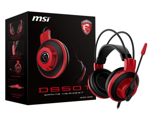 MSI CUFFIE HEADSET GAMING DS501, IN-LINE CONTROLLER, MICROFONO REGOLABILE