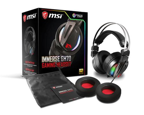 MSI CUFFIE HEADSET GAMING IMMERSE GH70, RGB HI-RES, VIRTUAL 7.1 SURROUND, VOLUME CONTROL, MICROFONO REMOVIBILE, COLORE NERO