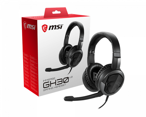 MSI CUFFIE HEADSET GAMING IMMERSE GH30 V2, IN-LINE VOLUME E MIC CONTROL, MICROFONO REMOVIBILE, 3.5MM JACK, COLORE NERO