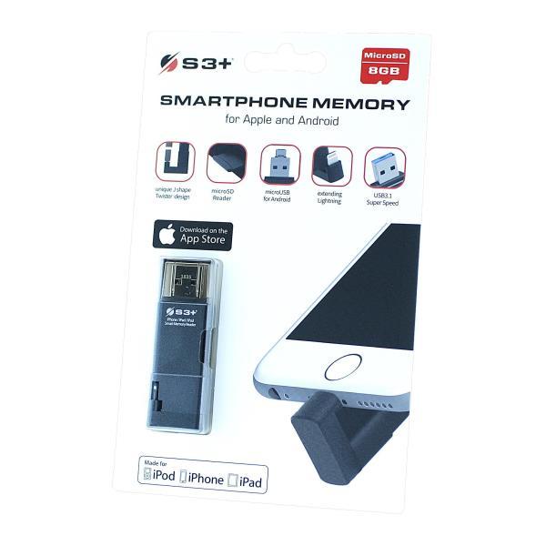 S3+ MICRO SD 8GB CL10 CON ADATTATORE SMARTPHONE LIGHTNING/MICRO USB/USB (APPLE - ANDROID)