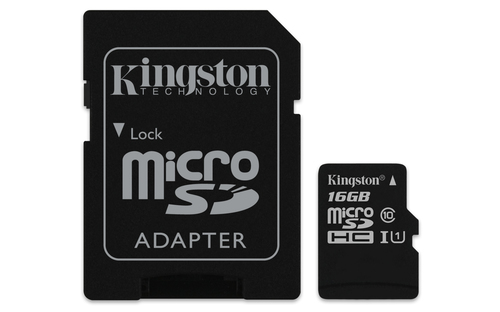 KINGSTON MICRO SDHC 16GB CANVAS SELECT 80R CL10 UHS-I CON ADATTATORE SD