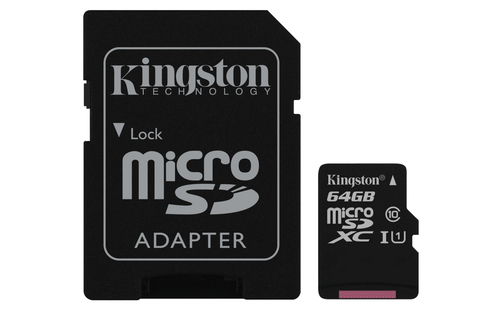KINGSTON MICRO SDHC 64GB CANVAS SELECT 80R CL10 UHS-I CON ADATTATORE SD